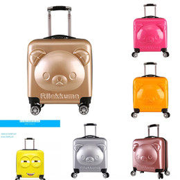 zipper train case Australia - YCeiX Children's bear boarding box trolley printing training school towing Children's suit suitcase bear boarding box gift trolley case prin