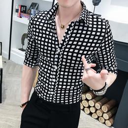 $enCountryForm.capitalKeyWord Australia - Casual Blouse Homme 3XL High Quality Plaid Shirt Men 2019 Summer Half Sleeve Men Shirt Slim Fit Tuxedo Fashion Turn Down Collar