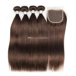 kiss hair color NZ - Kiss Hair 4 Bundles With Lace Closure Dark Brown Brazilian Straight Virgin Hair Weave Bundles Free Part Middle Part Three Part
