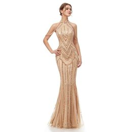 1b7e5f528a8 2019 Luxury Champagne Sheath Long Beads Evening Dresses Sexy Crystals  Mermaid Party Maxi Dress Prom Gowns Floor Length 5404