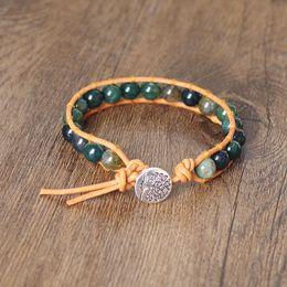 Onyx Silver Bracelet Australia - 8mm Indian Onyx Beads Leather Wrap Bracelets Handmade Women Men jewelry Strand Natural Stone Beaded Charm Boho Bracelet Bangle