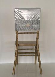 Champagne Chair Australia - 2019 Grey Crystals Taffeta Wedding Chair Sashes Romantic Beautiful Chair Covers Cheap Custom Made Wedding Supplies C05