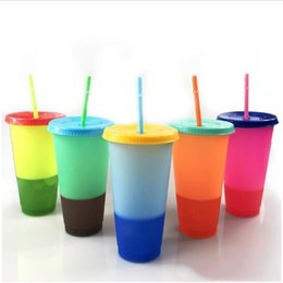 wholesale cups lids straws 2020 - Magic Color Change Mug New Arrival Color Changing Cup Thermochromic cup Color change PP with lid and straw 5 Colors Opti