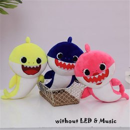 Soft blue doll online shopping - 3 Colors cm Baby Shark Plush Toy Cartoon Filled with Cute Animal Soft Doll Music Light emitting Shark Toys Kids Party Favor CCA11726