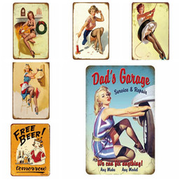 vintage cafe posters NZ - Coffee Tin Sign Vintage Sexy Lady Metal Sign Plaque Metal Vintage Wall Decor for Kitchen Coffee Bar Cafe Retro Metal Posters Iron Painting