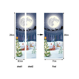 $enCountryForm.capitalKeyWord NZ - 2Pcs Set Christmas Decorations For Home Creative Door Stickers Print Moon Night Snow House Wall Sticker Decorations For Home KIds Room Decor