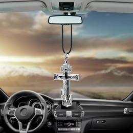 $enCountryForm.capitalKeyWord Australia - Charms Metal Jesus Crucifix Cross Car Rearview Mirror Decoration Hanging Pendant Automobiles Decor Ornaments Accessories Gifts
