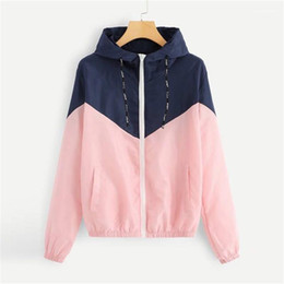 Wholesale fashion womens spring jackets resale online – Womens Coats with Zipper Fashion Womens Designer Jackets Patchwork Hooded Jackets Spring Autumn