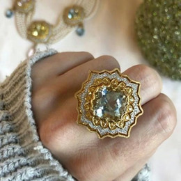 Alloy pyrAmid online shopping - Vintage Ethnic Sunflower Mens Rings Big Golden CZ Crystal Rings For Women Pyramid Rotate Antique Silver Fashion Jewelry Z4M105