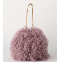 winter fur handbag NZ - New Winter Bucket Real Fur Shoulder Bags Japan Beach Wool Cylinder Handbag Wool Plush Women Bag Crossbody Handbag Purse