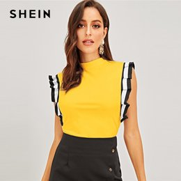 $enCountryForm.capitalKeyWord NZ - Yellow Mock Neck Striped Pleated Ruffle Armhole Top Women Sleeveless Ladies Spring Stretchy Tees C19041001