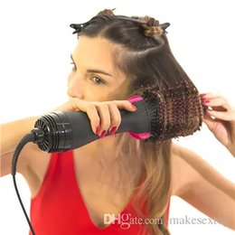 Air Brush Hair Styler NZ - Factory wholesale Professional electric dry iron 2 in1 Hot air hair brush Styler,Electric hair dryer rotating brush Comb Curls Styler