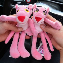 Discount fur animals keychain 2020 Cartoon Cute Animal Anime Pink Panther Keychain Fur Ball Key Rings Cute Key Chain Women Car Bag Charms Pendan