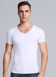 Wholesale nice men tshirt for sale – custom 2019 New Men Summer Time Traceless Modal Material Loose Elastic Force Nice And Cool Short Sleeve Tshirt