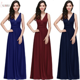 Wholesale stock t shirt resale online - New V Neck Long Prom Evening Dress Cheap Silver Halter A line Party Gown Formal Bridesamid Dresses In Stock CPS723