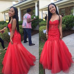 Fancy Red Sexy Dresses Australia - Indian Black Girls Mermaid Prom Dresses Lace Red Long Sexy Hollow Evening Gowns Tulle Sweetheart Fancy Petite Special Occasions Dresses