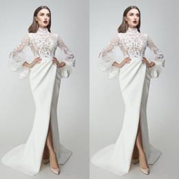 Wholesale chrismas shirt online – design Yousef Aljasmi Evening Dresses Lace Appliqued Long Sleeves Side Split Mermaid Prom Gowns Sweep Train Special Occasion Dress