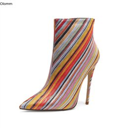 Wholesale Rontic New Arrival Women Ankle Boots Sexy Stiletto High Heel Boots Pointed Toe Gorgeous Multicolor Party Shoes Women US Size