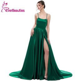 $enCountryForm.capitalKeyWord Australia - Green Evening Dress 2019 A Line Satin With Spaghetti Straps Long Prom Party Dress Side Split Abendkleider Evening Gowns Y19051401