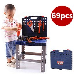 $enCountryForm.capitalKeyWord NZ - 69Pcs Children's Tool Box Foldable Work Bench With Simulation Repair Tools Set Kids Baby Role Play Toy Mutifunctional Hand Tool
