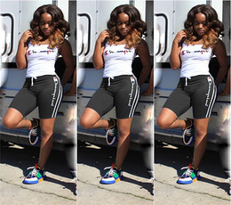 Summer Sportswear Suit Australia - Summer Women Champions Short Tracksuit 2 Piece Outfit Tank Tops Vest+ Shorts Sports Suit Letter Printed Sportswear Joggers Set 2019 A32607