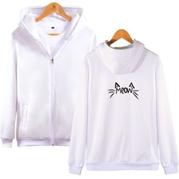Wholesale discount fashion clothing online – design Cat Zipper Hoodies Printed Pattern Hoodie Kawaii Fashion Unisex Hoody Discount Sale Clothes Long Sleeve Sweatshirt