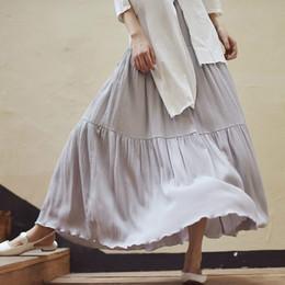 Discount wrinkle skirt - Summer Elastic Waist Long Maxi Beach Thin Pleated Vintage Grey Skirt School Women Pure Wrinkle Cotton Ethnic A Line Swin