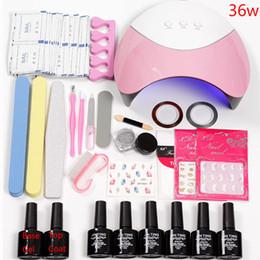 Uv Lamp Kits Australia - Nail Set 36w UV LED Lamp Dryer With 6pcs Nail Gel Polish Kit Soak Off Manicure Tools Set Laser Powder For Art Tools