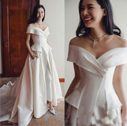60bc904df38 Ladies vintage jumpsuits online shopping - Elegant White Jumpsuit Wedding  Gowns Off Shoulder Ladies Party Occasion