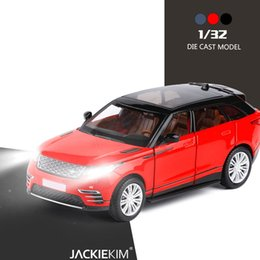 Chinese  1:32 Scale VELAR SUV Alloy Car Model Toys Black Red Blue With Pull Back Muaical Flashing For Kids Toys Gifts Free Shipping manufacturers