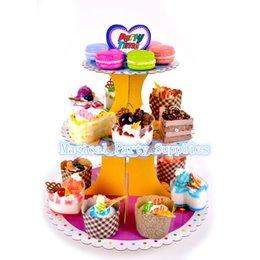 $enCountryForm.capitalKeyWord Australia - Free Shipping 2pcs Three Layers Paper Cupcake Stand Cake Dessert Tray Stand Christmas Wedding Birthday Party Decoration Favors