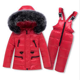 $enCountryForm.capitalKeyWord Australia - NEW Winter Girls Boy Russia Down Jacket Clothing -30 Degrees Hooded Fur Coat+overalls Toddler Jumpsuit children warm clothes set