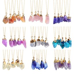 necklaces pendants Australia - Necklace for Women Irregular Crystal Necklace Pendant Funk Necklace Women Gold Color Chain with Colorful Stone Cny1519