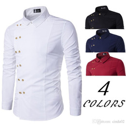 Branded Double Shirts Australia - New Brand Men&s Shirt Double Breasted Dress Shirt Long Sleeve Slim Fit Camisa Masculina Casual Male Hawaiian Shirts