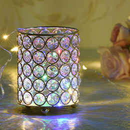 $enCountryForm.capitalKeyWord Australia - Cylinder Glass Tealight Candle Holders Metal Cup Crystal Stand Vases for Home Wedding Decoration Centerpieces