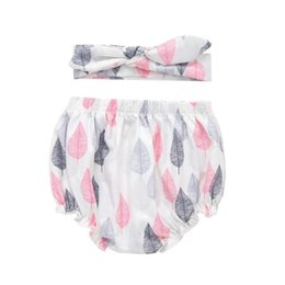 white baby girl bloomers UK - 2pcs Toddler Baby Girls Summer PP Shorts Leaf Print Bloomers Pants Headband