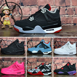 Basketball Sneakers For Cheap Australia - Cheap womens Jumpman 4 IV basketball shoes 4s Denim Black Cat Fire red Bred Oreo White J4 sneakers boots for youth kids baby boys Girls
