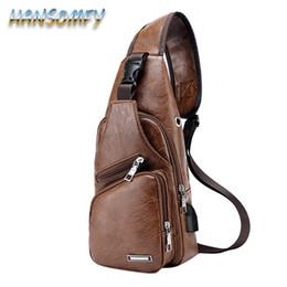 2e688bfaffad Crossbody Bag Men Leather Chest Bag USB Backbag With Headphone Hole Multi- pocket Travel Organizer Male Sling 2019 YZ-30