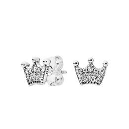 DiamonD stuD settings online shopping - NEW Fashion CZ Diamond Stud Earrings for Pandora Sterling Silver Magic crown Earring Original Gift Box set for Women Girls
