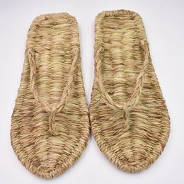 chinese red slippers Australia - Chinese ancient hand-woven straw shoes summer new slippers indoor home slippers sandals personality fashion lovers shoes