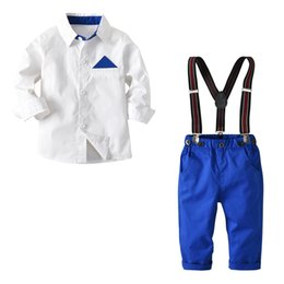 Toddler Boy 4t Australia - Toddler Boys Formal Clothing Sets White Shirt + Blue Pants Suits 2 3 4 5 6 7 Years Cardigan Button Boy Gentleman Leisure Suit J190513