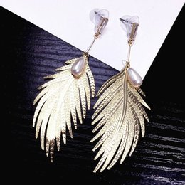 Big feather earrings online shopping - Big Metal Leaf Feather Statement Earrings For Women Bijoux Long Earrings Fashion Jewelry Party Gold Color Accessories