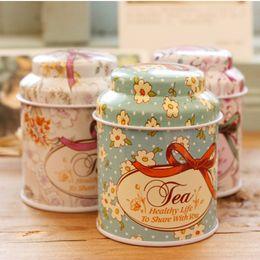 $enCountryForm.capitalKeyWord Australia - Free shipping Cylinder Metal tin Vintage flower style design tea tins Mini tea box Tea Tinplate tin cans lin4638