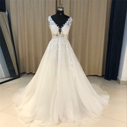 Sample Straps Line Australia - Sleeveless Lace Applique A-line Wedding Dress Real Samples Beads Sequins Crystal Celebrity Dress Long Beach Bridal Gowns es Custom