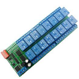 Freeshipping 16 Channel DC 12V RS485 Relay Module Modbus RTU 485 Scheda di controllo remoto per PLC PTZ Camera Motor in Offerta