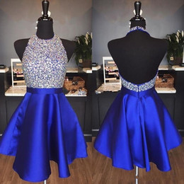 White Sparkly Backless Short Dress Australia - Royal Blue Satin Backless Homecoming Dresses Jewel Halter Sequins Crystal Backless Short Prom Dresses Sparkly Red Party Dresses
