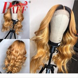 blonde body wave full lace UK - PAFF Ombre Blonde Full Lace Human Hair Wigs With Baby Hair 1BT27 Body Wave Brazilian Remy Hair Wig Pre Plucked Middle Part