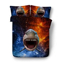 Ocean Bedding Australia - Ocean Dolphin Duvet Cover Set Shark Coverlet Galaxy 3 Pieces Bedding Set With 2 Pillow Shams Boys Girls Bedspread Quilt Cover Blue Purple