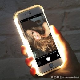 black gold filled NZ - Wholesale Luminous Illuminated Flashlight LED Light Selfie Fill Light Cell Phone Case Phone Cover for IPhone e41
