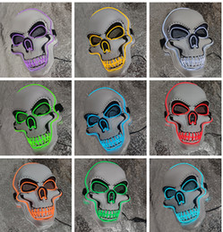 funny horror face mask NZ - Halloween Horror Mask LED Light Up Mask Family Dance Party Funny Mask Glow In Dark10 Colors A08